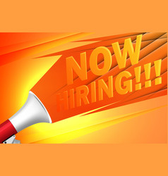 now hiring advertisement poster or banner design vector image