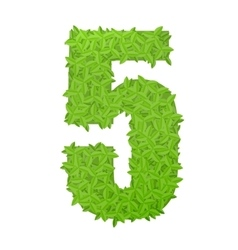Number 5 consisting of green leaves vector