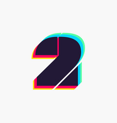 Number two logo with stereo effect vector
