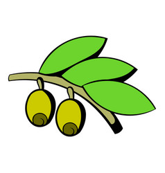 Olives on branch with leaves icon icon cartoon vector