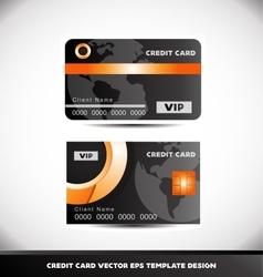Orange circle black vip credit card template vector