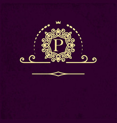 ornate logo template with letter p for restaurant vector image