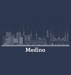 Outline medina saudi arabia city skyline with vector