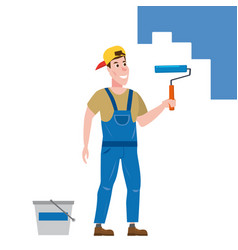 painter man paints wall is holding a paint vector image