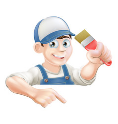 Painter pointing at banner vector