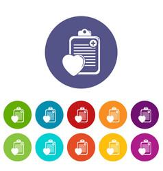 patient card icons set color vector image