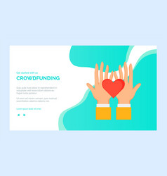 presentation palms with heart crowdfunding vector image