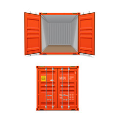 Realistic set bright red cargo containers vector