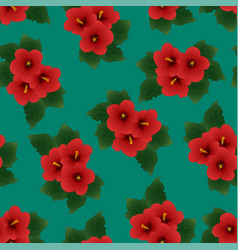 red hibiscus syriacus - rose of sharon on green vector image