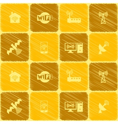 Seamless background with wi fi symbols vector image