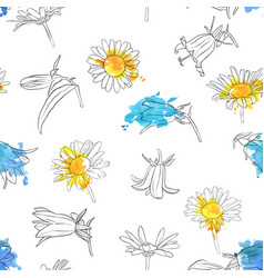 seamless pattern with drawing bell flowers vector image