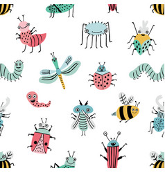 Seamless pattern with funny bug background vector