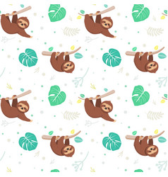seamless pattern with tropical leaves and sloths vector image