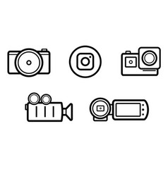 set black and white linedrawing camcorder icons vector image