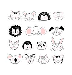 set cute portraits different animals vector image