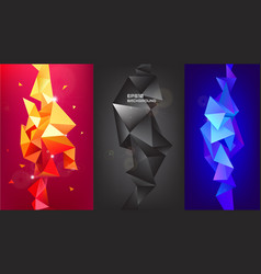 set of 3d geometric shapes facet vertical vector image