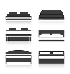 Set of black silhouettes bed vector image