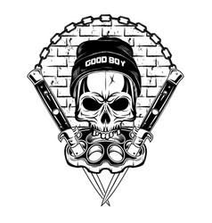 skull in a cap vector image