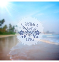 Surfing camp logo on blurred beach photo vector