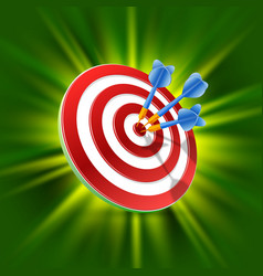 Target with darts 3d art vector