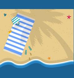 Top view of sea beach with towel bag flip flops vector