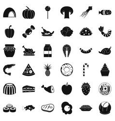 treat icons set simple style vector image