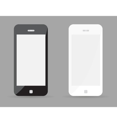 Two realistic smartphone concept - black and white vector image