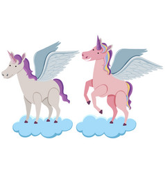 Two unicorns on blue clouds vector