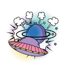 Ufo flying with saturn pop art style vector