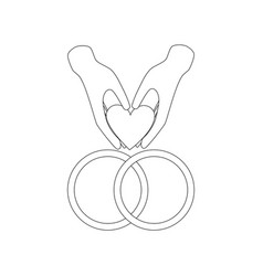 Wedding rings outline vector