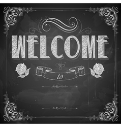 Welcome written on chalkboard vector image vector image