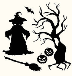 witch pumpkin lantern tree broom and bat on vector image