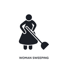Woman sweeping isolated icon simple element from vector