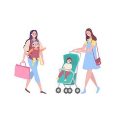 Woman walking with kid sitting in perambulator vector