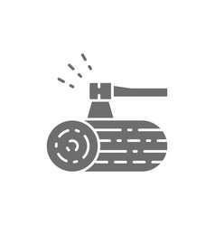 Wooden deck and ax grey icon vector