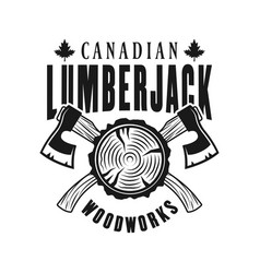 Woodworks and lumberjack emblem with crossed axes vector
