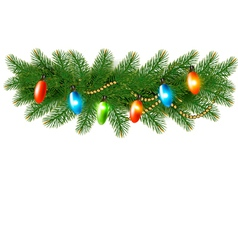 Christmas background with colorful garland and fir vector image