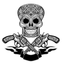 Crossed Guns With Ornaments Ribbon And Skull vector image vector image