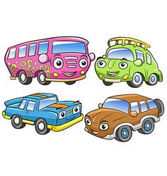Funny vehicles Cartoon and isolated characters vector image