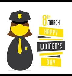 happy womens daywomen police profession design vector image vector image