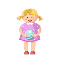 little blond girl with ponytails in polka dotted vector image vector image