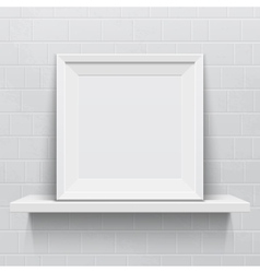 Realistic picture frame on white realistic shelf vector image vector image