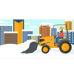 Woman plowing snow vector image