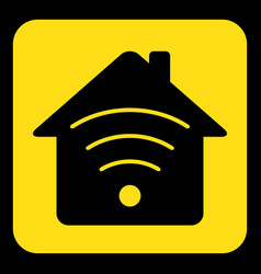 yellow black sign - house with signal icon vector image
