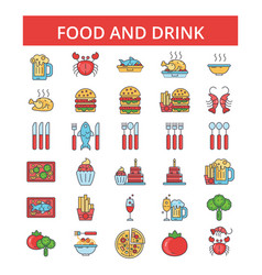 food drinks thin line icons linear vector image vector image