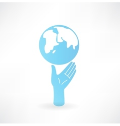 Hand and globe icon vector image