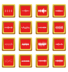 sound wave icons set red vector image