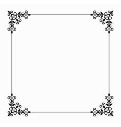 Black Twirl Frame on White Background vector image