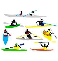 canooing and kayaking vs vector image