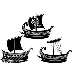 greek ships 2 vector image